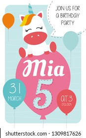 5th Birthday Party Invitation Card 10x15 With