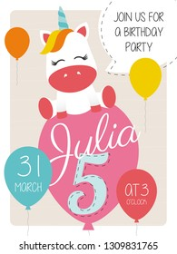 5th Birthday Party Invitation Card With