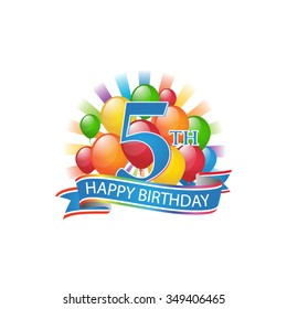 5th colorful happy birthday logo with balloons and burst of light