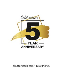 5th golden anniversary logo celebration with frame and hand drawn ink brush gold ribbon. Vector template element for your 5 birthday party poster greeting card on white background and black number.
