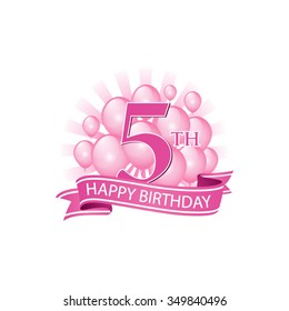 5th pink happy birthday logo with balloons and burst of light