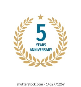 5th years anniversary badge design with a laurel wreath. Five years birthday logo emblem.