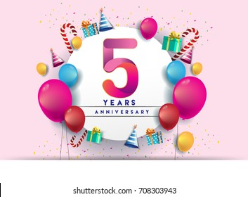 5th years Anniversary Celebration Design with balloons and gift box, Colorful design elements for banner and invitation card.