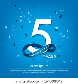 5th years anniversary celebration emblem. white anniversary logo isolated with blue circle ribbon. vector illustration template design for web, poster, greeting card and invitation card