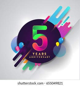 5th years Anniversary logo with colorful abstract background, vector design template elements for invitation card and poster five years birthday celebration