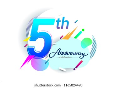 5th years anniversary logo, vector design birthday celebration with colorful geometric background, isolated on white background.