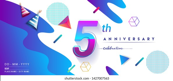 5th years anniversary logo, vector design birthday celebration with colorful geometric background and circles shape.