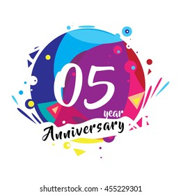 5th years greeting card anniversary with colorful number and frame. logo and icon with circle badge and background