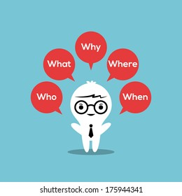 5w strategy : Who, What, Where, When, Why illustration