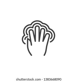 5x double tap line icon. Hand Click linear style sign for mobile concept and web design. Five finger touch gesture outline vector icon. Symbol, logo illustration. Pixel perfect vector graphics
