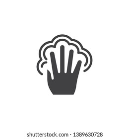 5x double tap vector icon. Hand Click filled flat sign for mobile concept and web design. Five finger touch gesture glyph icon. Symbol, logo illustration. Pixel perfect vector graphics