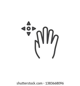 5x drag line icon. Hand Click linear style sign for mobile concept and web design. Five finger touch gesture outline vector icon. Symbol, logo illustration. Pixel perfect vector graphics
