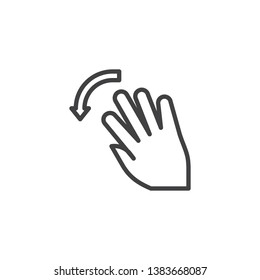 5x flick left line icon. Swipe left hand Click linear style sign for mobile concept and web design. Five finger touch gesture outline vector icon. Symbol, logo illustration. Pixel perfect vector