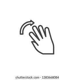 5x flick right line icon. Swipe right hand Click linear style sign for mobile concept and web design. Five finger touch gesture outline vector icon. Symbol, logo illustration. Pixel perfect vector
