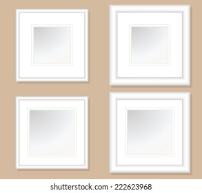 5x5 and 6x6 Square Photo Art Frames with double Mats, with .5 & 1 inch frames widths each. Fully editable.