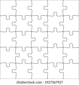 5x5 Jigsaw puzzle blank template background light lines. every piece is a single shape.