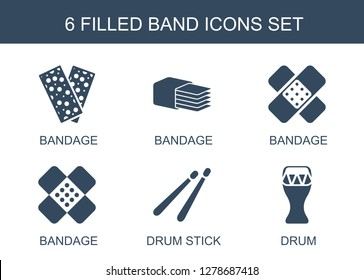 6 band icons. Trendy band icons white background. Included filled icons such as bandage, drum stick, drum. band icon for web and mobile.