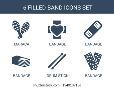 6 band icons. Trendy band icons white background. Included filled icons such as maraca, bandage, drum stick. band icon for web and mobile.