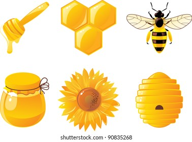 6 bee and honey icons