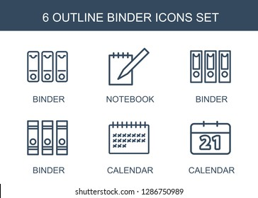 6 binder icons. Trendy binder icons white background. Included outline icons such as notebook, calendar. binder icon for web and mobile.