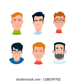 6 boy, face planes, different type of people, vector illustration.