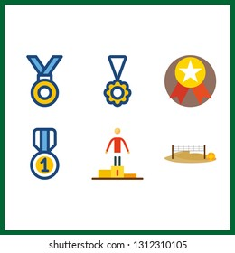 6 champion icon. Vector illustration champion set. medal and voleyball ground icons for champion works