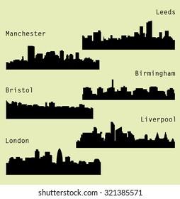 6 city silhouette in England (London, Leeds, Liverpool, Birmingham, Bristol, Manchester)