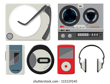 6 colourful vector music players