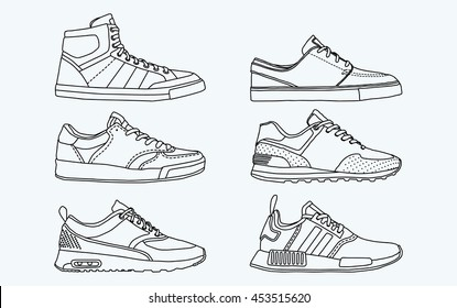 6 COOL shoes, sneakers, vector, sketch, draw set