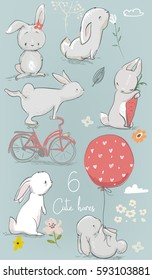 6 cute cartoon hares