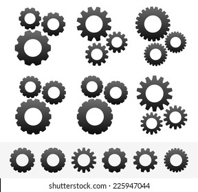 6 different cogwheel composition, 6 different cogwheels. (Pinions, rack wheels, cogs vector)