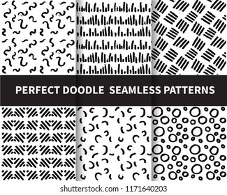6 doodle patterns. beautiful classic linear and dot style. Endless texture can be used for wallpaper, pattern fills, web page background,surface textures,tile, greeting card, scrapbook, backd