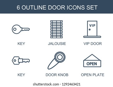 6 door icons. Trendy door icons white background. Included outline icons such as key, jalousie, vip door, knob, open plate. icon for web and mobile.