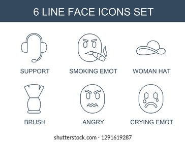 6 face icons. Trendy face icons white background. Included line icons such as support, smoking emot, woman hat, brush, angry, crying emot. face icon for web and mobile.