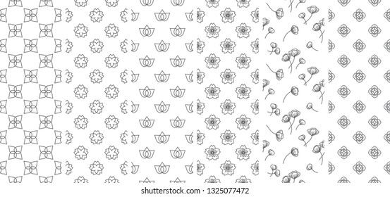 6 flower seamless wallpapers. Line vector flat style.