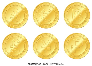 6 gold coins set. Dollar, Euro, Pound sterling, Yuan or Yen, Thailand Baht, Rouble, ruble. Editable and suitable for casino game. Gambling. EPS10