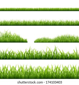 6 Grass Borders, Vector Illustration