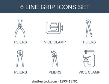 6 grip icons. Trendy grip icons white background. Included line icons such as pliers, vice clamp. grip icon for web and mobile.