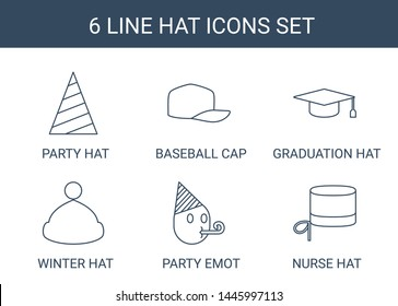 6 hat icons. Trendy hat icons white background. Included line icons such as party hat, baseball cap, graduation winter party emot, nurse hat. icon for web and mobile.
