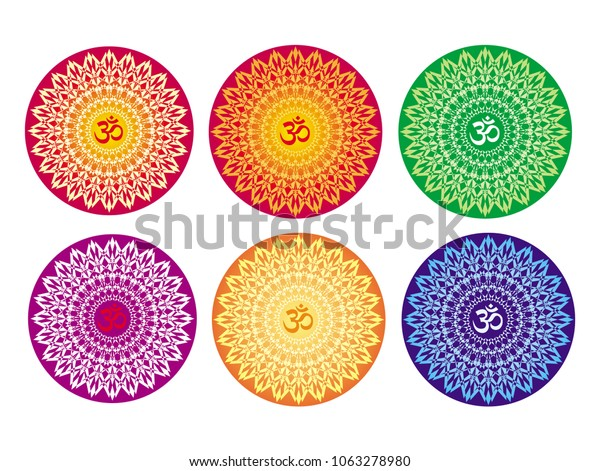6 Mandalas Different Colors Aum Om Stock Vector (Royalty