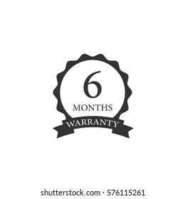 6 months warranty word on circle jagged edge and ribbon badge vector. Minimalist style, black and white color.