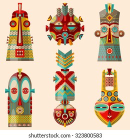 6 multi-colored african masks of different shapes. Vector illustration