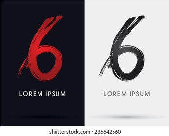 6, Number six, grungy font, brush, logo, symbol, icon, graphic, vector .