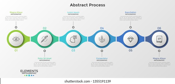 6 numbered round elements with thin line icons inside successively connected into horizontal chain. Minimal infographic design template. Vector illustration for presentation, banner, website, report.