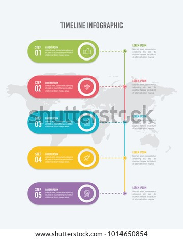 6 options vertical timeline infographic template のベクター画像素材