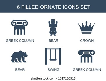 6 ornate icons. Trendy ornate icons white background. Included filled icons such as Greek column, bear, crown, swing. ornate icon for web and mobile.