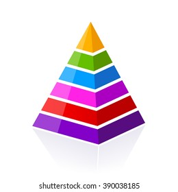 6 part layered pyramid, vector illustration isolated on white background