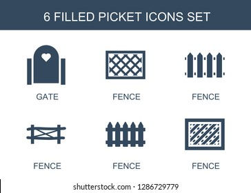 6 picket icons. Trendy picket icons white background. Included filled icons such as gate, fence. picket icon for web and mobile.