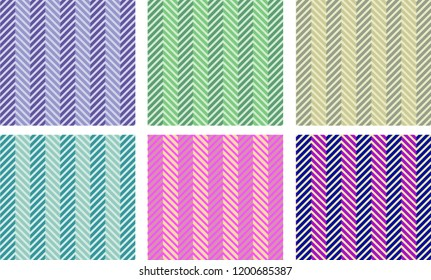 6 pieces seamless diagonal line abstract pattern. patterns made with different color and theme