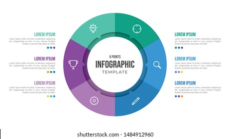 6 points circular infographic element template with icons and colorful flat style, can use for presentation slide